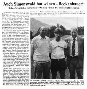 Pressebericht zur Auszeichnung Reiners (m.) für 750 Spiele von Horst Eckel (l.) und mit Willi Reich (r.)