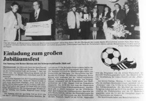 Pressebericht zum Festbankett anl. d. 50-jährigen Bestehens mit Verleihung der Landesehrennadel an Hans-Peter (rechtes Bild, 2. v. l. zwischen Vorstand Alfred Hug und Frau Brigitte, 1998