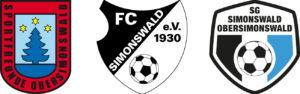 Wappen der relevanten Organisationen: Sportfreunde Obersimonswald, FC Simonswald und SG Simonswald-Obersimonswald